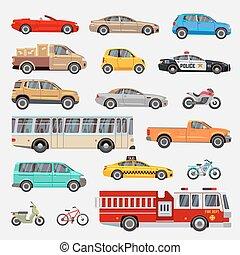Urbano, coches de la ciudad y vehículos transportan vector de iconos planos establecidos