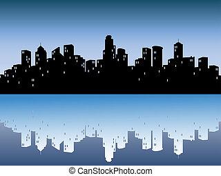 urbano, contornos, reflexión