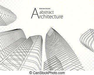 urbano, design., edificio, moderno, ilustración, arquitectura, 3d
