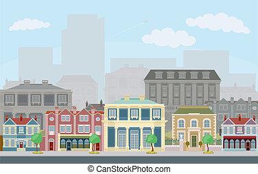 urbano, escena calle, elegante, casas adosadas