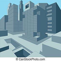 urbano, ilustración, dimensional, 3, vector, cityscape