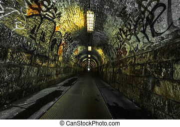 urbano, túnel, metro