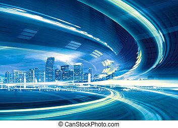 urbano, trails., colorido, luz de la ciudad, resumen, moderno, céntrico, ilustración, movimiento, yendo, velocidad, carretera