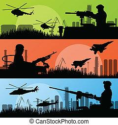 urbano, transporte industrial, soldados, ejército, fábrica, ilustración, vector, helicópteros, plano de fondo, aviones, armas de fuego, paisaje