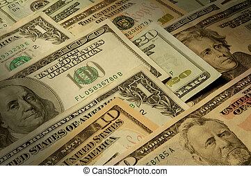 U.S. billetes de varios billetes de dólar