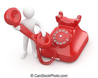 us., hombres, teléfono., 3d, contacto
