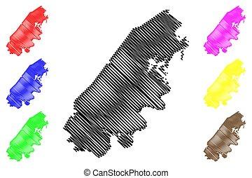 us), mapa, ilustración, rhea, américa, estado unido, estados unidos de américa, vector, garabato, estados, bosquejo, tennessee, (u.s., u..s.., condado