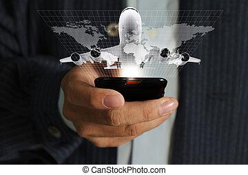 uso, alrededor, teléfono del negocio, móvil, viaje, mano, correr, mundo, hombre
