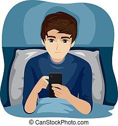 uso, noche, ilustración, tarde, dispositivo, niño, adolescente