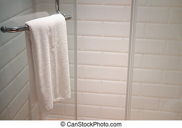 uso, percha, hotel, preparado, toalla, blanco