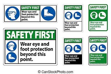 uso, pie, punto, ojo, símbolos, esto, ppe, señal, protección, primero, seguridad, más allá de
