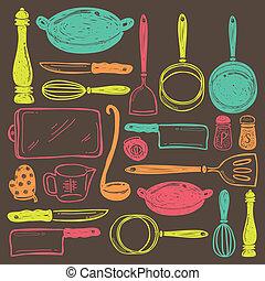 utensilio, cocina, seamless