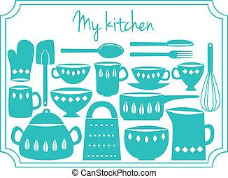 utensilios, cocina, etiqueta