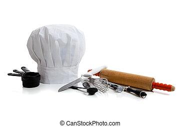 Utensilios de cocina con sombrero de chef