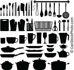 utensilios, vector, silueta, cocina