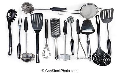 utensillos de cocina, blanco, diferente, plano de fondo