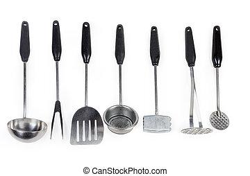 utensillos de cocina, conjunto, blanco, diferente, plano de fondo