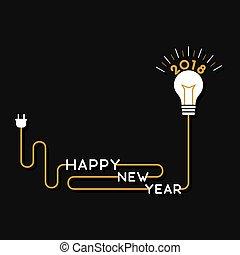 utilizar, año, feliz, nuevo, diseño, 2018, cepillo, cartel, creativo