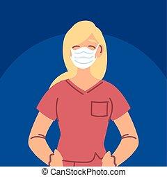 utilizar, enfermera, uniforme, máscara cara, mujer