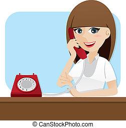 utilizar, niña, caricatura, elegante, teléfono
