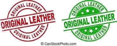 utilizar, original, estilo, insignias, cuero, angustia, redondo