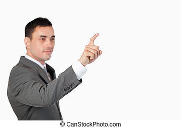 utilizar, touchscreen, invisible, hombre de negocios