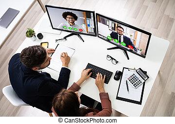utilizar, videoconferencia, elearning, empresa / negocio, feliz, gente