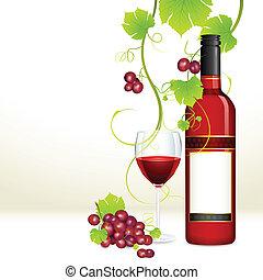 Uva con botella de vino y vaso