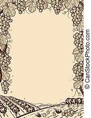 uvas retro marco marrón vertical