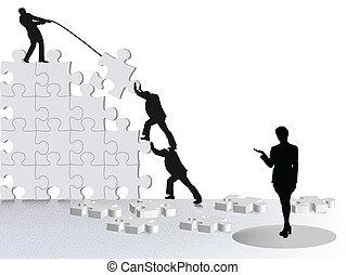 vía, empresa / negocio, éxito, actuación, equipo, rompecabezas, logro, construir