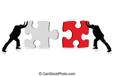 vía, empresa / negocio, éxito, rompecabezas, ilustrado, concepto, logro, togetherness