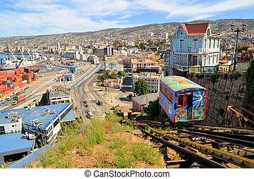 vía férrea funicular, escalera mecánica, chile, valparaiso