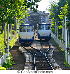 vía férrea funicular, kiev