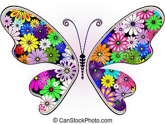 Vívida mariposa floral de fantasía