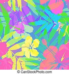 vívido, patrón, colores, seamless, tropical, brillante, vector, flores