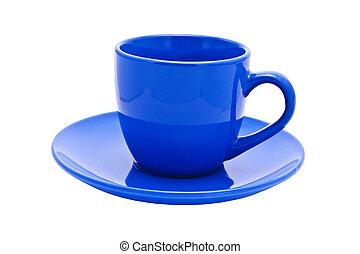 Vacía taza azul oscuro