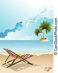 vacío, deckchair, playa