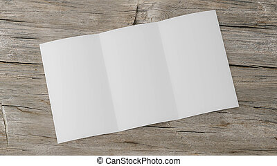 vacío, folleto, de madera, espacio, render, foto, 3d, blanco, ilustración, tabla, triple, doblado, su, abierto, contenido