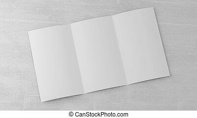 vacío, folleto, de madera, espacio, render, foto, blanco, 3d, blanco, ilustración, tabla, triple, doblado, su, abierto, contenido