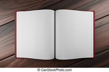vacío, metro, blanco, 3d, ilustración, libro, madera, render, oscuridad, abierto
