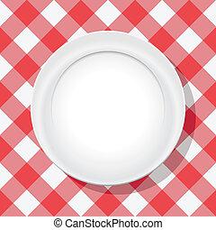 vacío, placa, vector, mantel, picnic, rojo