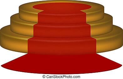 Vacío podio con alfombra roja