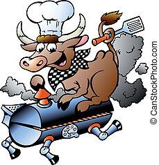 Vaca Chef montando un barril BBQ