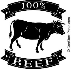 vaca de carne de res, etiqueta, porcentaje, 100