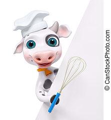 Vaca de cocina de dibujos animados con posters y batir 3D