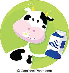 Vaca feliz con caja de leche en verde