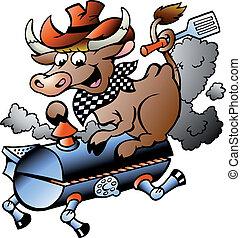 Vaca montada en un barril BBQ