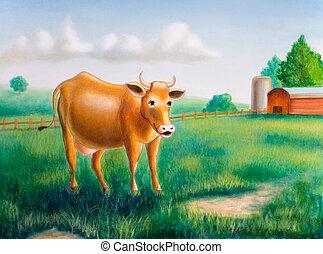 Vaca y granja