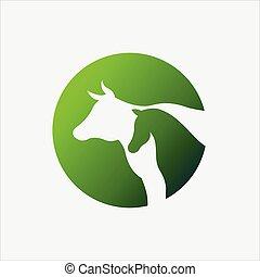 vaca, y, vector, caballo