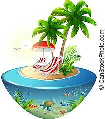 Vacaciones aisladas en la isla tropical. Dos chaises